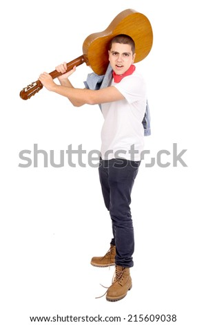 teenage boy holding guitar isolated in white - stock photo
