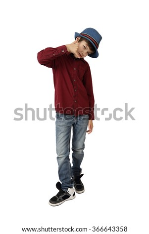 Teenage boy in blue hat,  red shirt, jeans and sneakers shows phone call gesture full height isolated on white background - stock photo