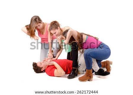 teenage boy in trouble because of girlfriends isolated in white - stock photo