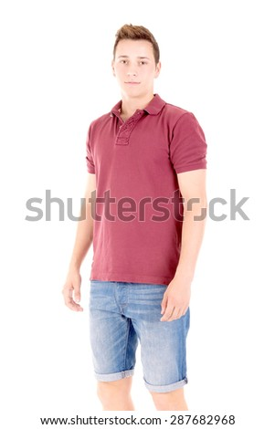 teenage boy isolated in white background