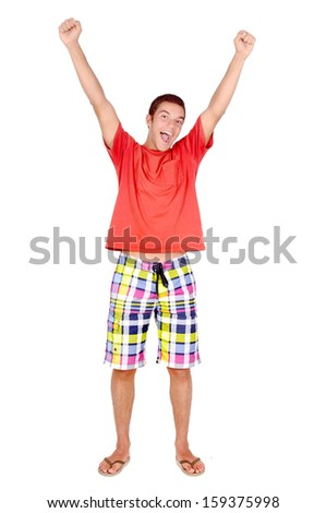teenage boy posing isolated in white