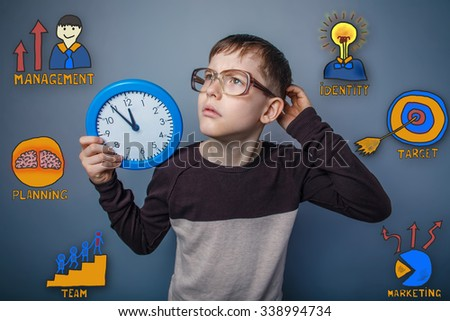 Teenage boy scratching his head holding a clock thought looking up collection of business icons management team goal sketch - stock photo
