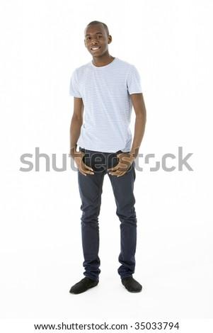 Teenage Boy Standing In Studio - stock photo