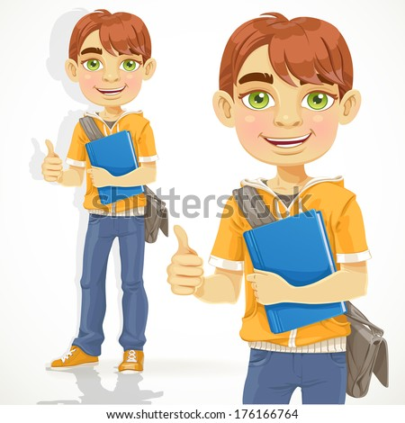 Teenage boy with a textbook shows OK - stock photo