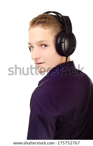 teenage boy with headphones isolated on a white background