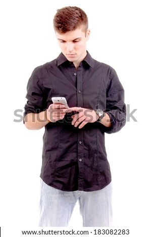 teenage boy with mobile phone isolated in white