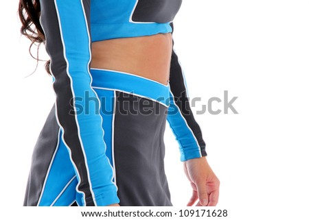 Teenage cheerleader with uniform on a white background - stock photo