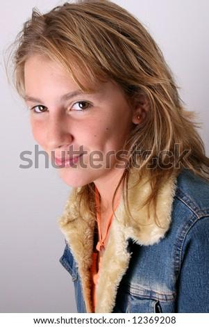 Teenage female model on a white background - stock photo
