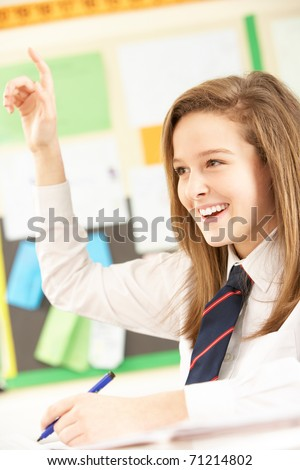 Teenage Female Student Answering Question In Classroom