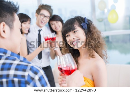 Teenage friends having fun at the party - stock photo