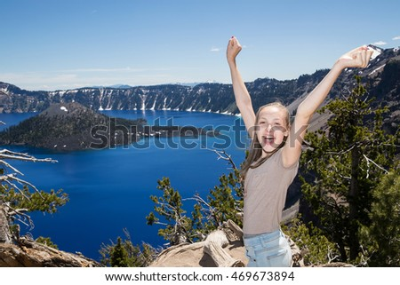 Teenage girl at Crater Lake Oregon