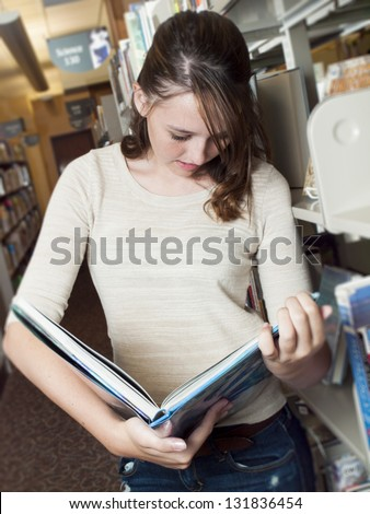 Teenage girl at the library.