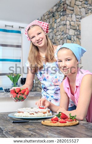 teenage girl baking a pie at home