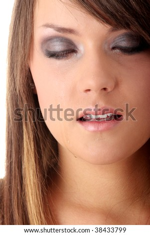 Teenage girl depression,crying - lost love - isolated on white background - stock photo