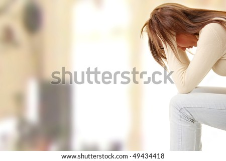 Teenage girl depression - lost love - stock photo