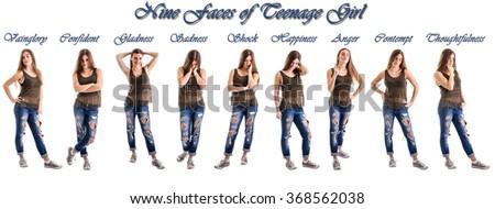 Teenage girl different humor - stock photo