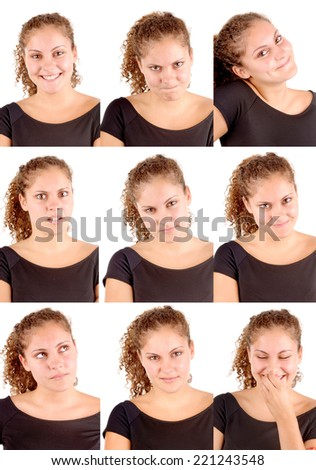 teenage girl doing several facial expressions isolated - stock photo