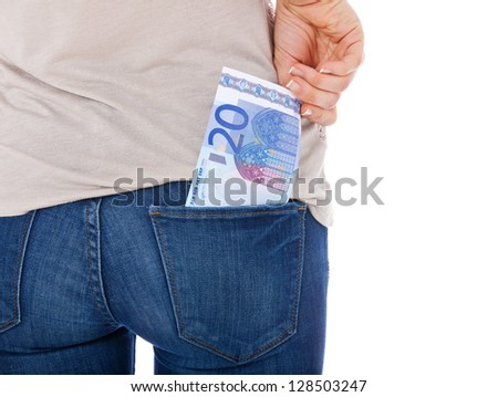 Teenage girl grabs 20 euro note in her back pocket. All on white background.