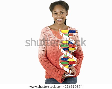 Teenage girl holding DNA model, smiling, portrait, cut out - stock photo