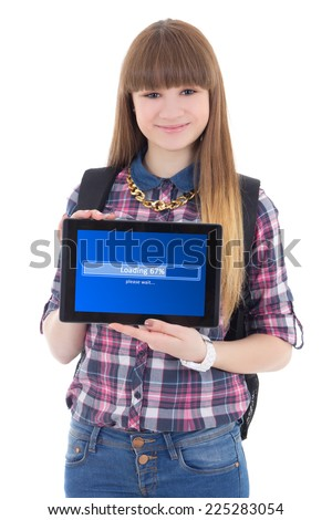 teenage girl holding tablet pc with loading screen isolated on white white background - stock photo