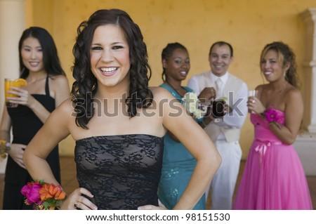 Teenage Girl in Prom Dress - stock photo