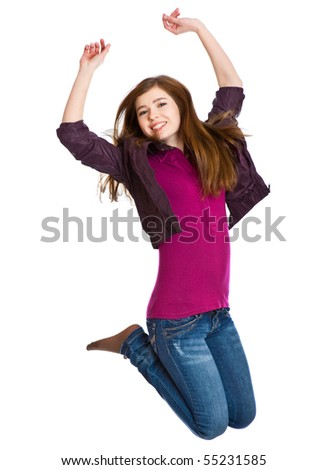 Teenage girl is jumping. Isolated on white background
