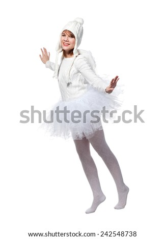 Teenage girl is wearing costume of white angels during masquerade party, isolated on white background. - stock photo