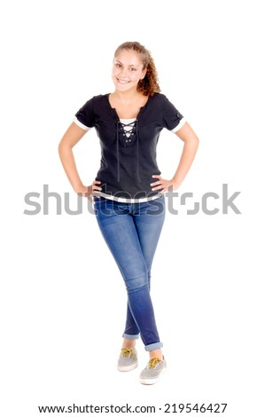 teenage girl isolated in white