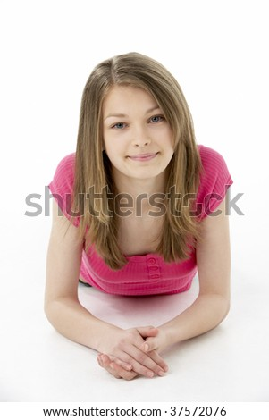 Teenage Girl Laying on Stomach