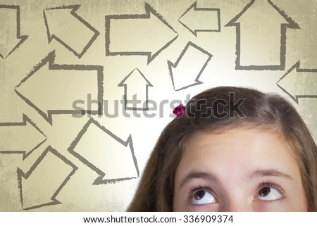 Teenage girl looking at arrows pointing in every direction expressing multiple choices and dilemma. Grunge background.  - stock photo