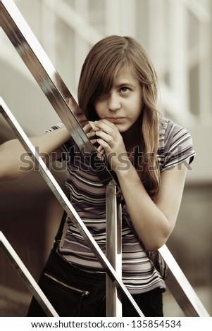 Teenage girl looking away - stock photo