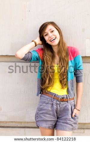 Teenage girl outdoors - stock photo