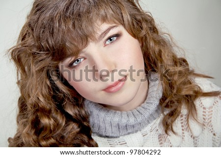 Teenage Girl Portrait. Beauty Portrait. Curly Hair - stock photo
