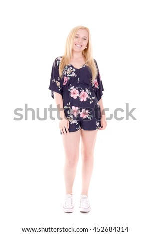 teenage girl posing isolated in white