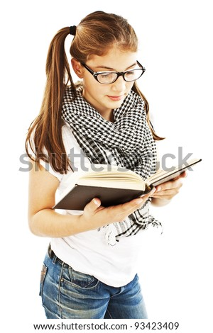 Teenage Girl Reading a Book. Isolated Over White Background