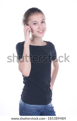 teenage girl smiling, talking on the phone