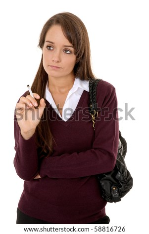 Teenage girl smoking cigarette isolated on white - stock photo