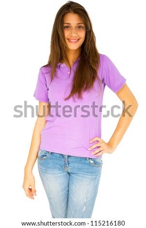 teenage girl standing - stock photo