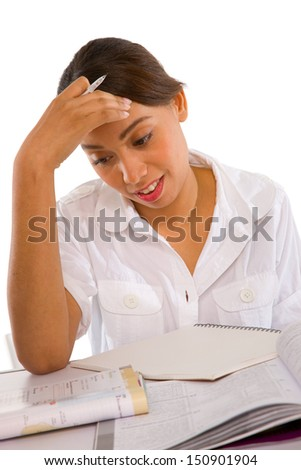 teenage girl studying - stock photo