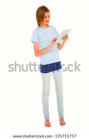 teenage girl using tablet