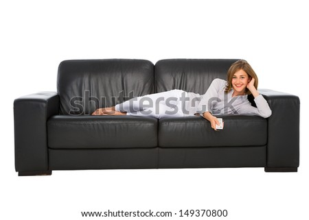 teenage girl watching tv - stock photo