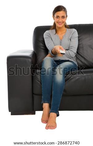 teenage girl watching tv - stock photo