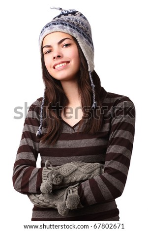 teenage girl wearing winter cloths - stock photo