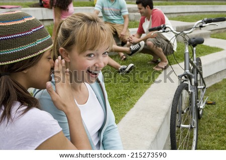 Teenage girl whispering in friend's ear, friend smiling, group of teenagers in background - stock photo