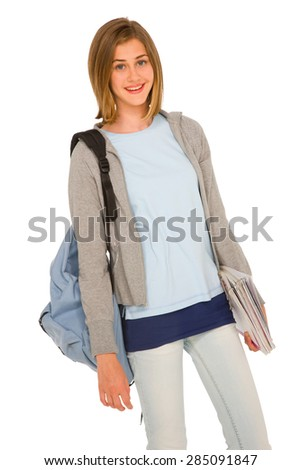 teenage girl with backpack