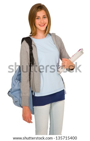 teenage girl with backpack and books - stock photo