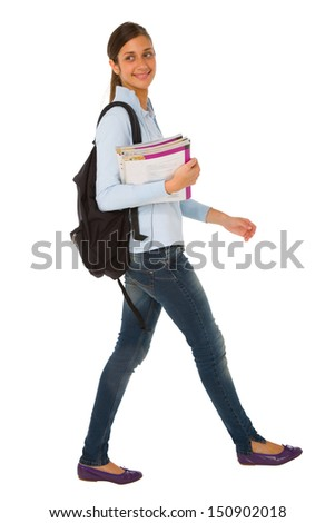 teenage girl with backpack and books