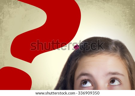 Teenage girl with bulging eyes looking to big red question mark expressing dilemma and hesitation. Grunge background.  - stock photo