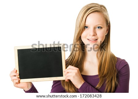 Teenage girl with chalkboard isolated on white