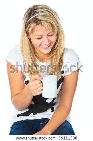 Teenage girl with cup. Isolated on white background